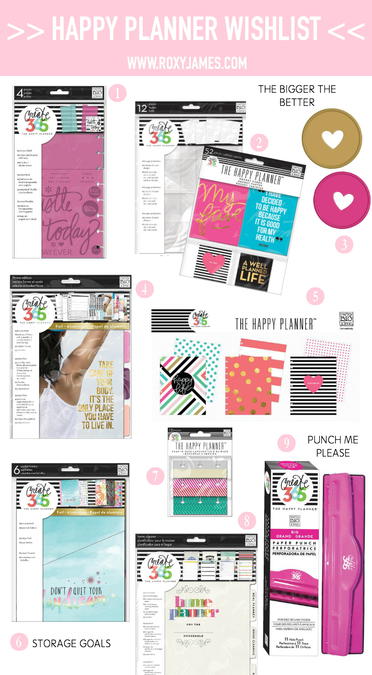 Happy planner wishlist roxy james for What is a planner dashboard