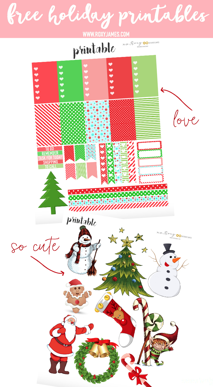 graphic about Free Printable Christmas Stickers called Cost-free Getaway Planner Stickers Printable - Roxy James
