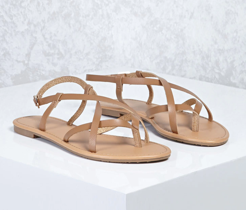 Crisscross Faux Leather Sandals