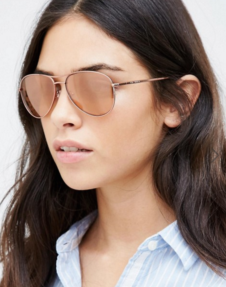 Ted Baker Carter Rose Gold Aviator Sunglasses